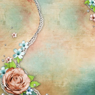Vintage textured background with a bouquet of flowers, lace