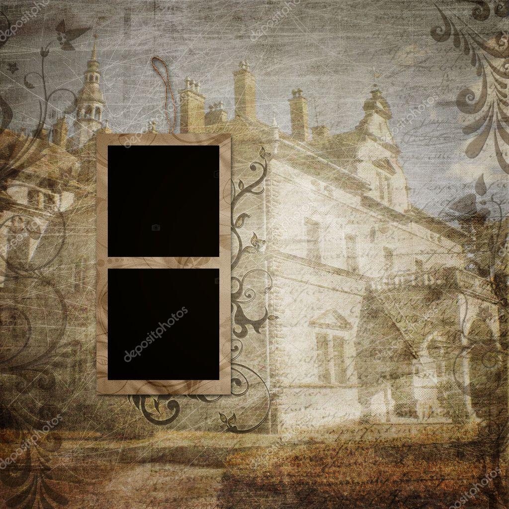 vintage stil vorlage mit bilderrahmen f r design fotoalbum stockfoto o april 11169080. Black Bedroom Furniture Sets. Home Design Ideas