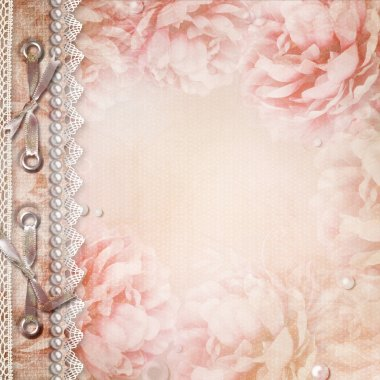 Grunge Beautiful Roses Album Cover With Bow, Pearls and Lace