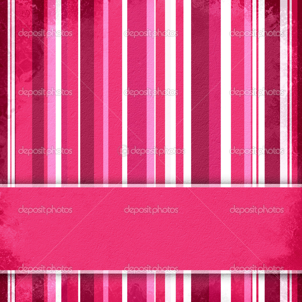 Purple, pink and white striped background with banner