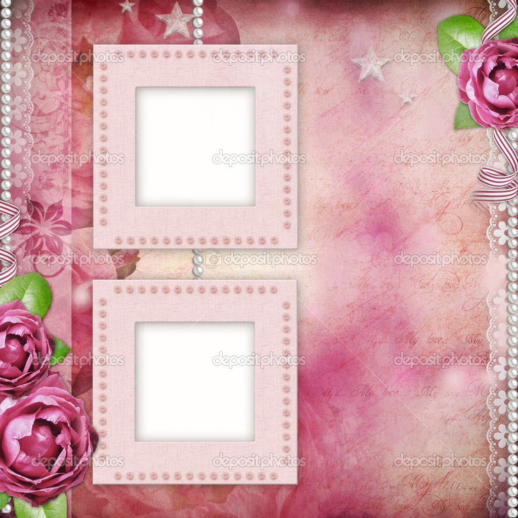 Album page - romantic background with frames, rose, lace, pearl ...