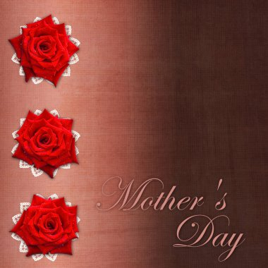 Card for congratulation or invitation for Mother`s day with red