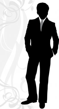 Silhouette of a businessman in classical suit