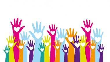 Colorful hands up with hearts over white background. vector stock vector