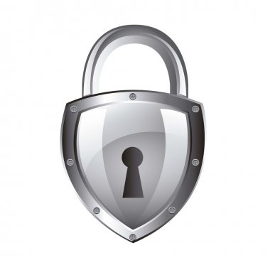 Silver padlock isolated over white background. vector illustration stock vector