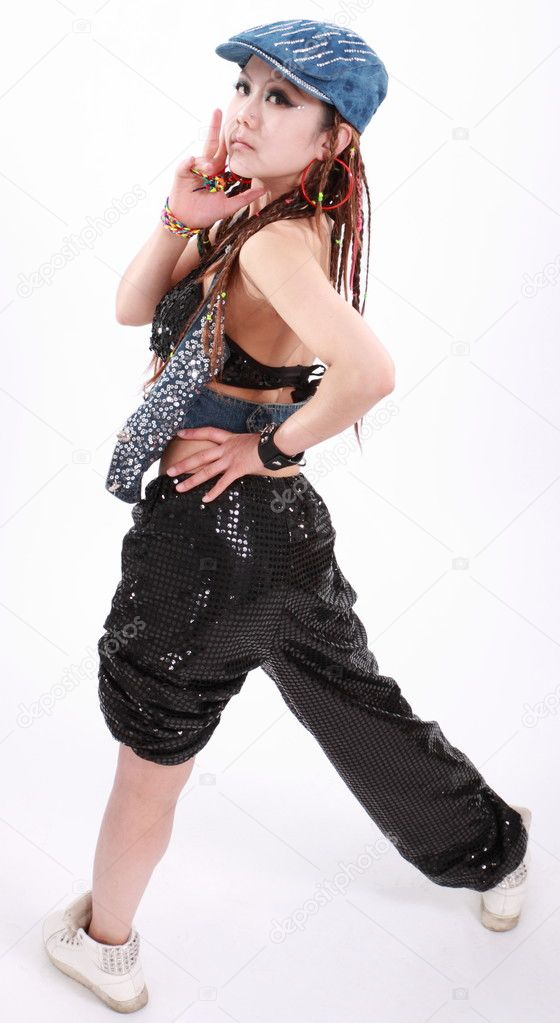 68cfa2099 Cute girl in various dance costumes and fun poses. — Stock Photo ...