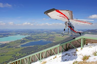 TEGELBERG, GERMANY - MAY 16: Competitor Ievgen Lysenko from Ukraine of the King Ludwig Championship hang gliding competitions takes part on May 16, 2012 in Tegelberg, Germany
