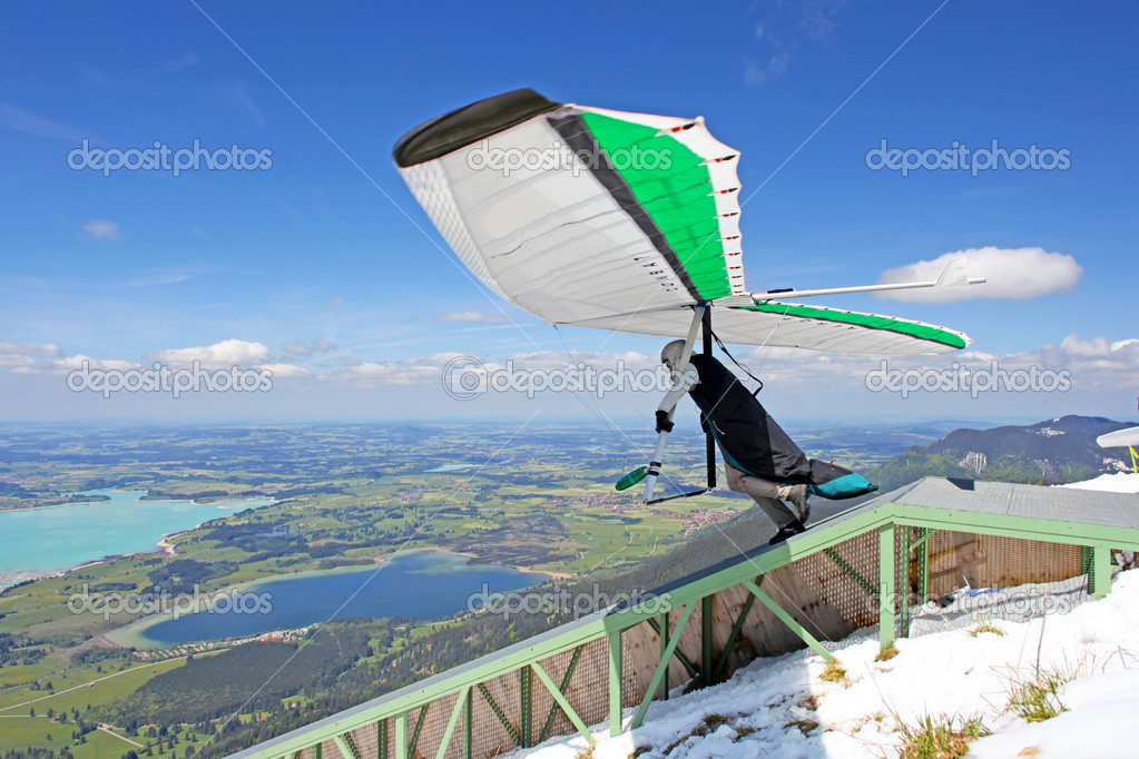 TEGELBERG, GERMANY - MAY 16: Competitor Oleg Matvieev from Ukraine of the King Ludwig Championship hang gliding competitions takes part on May 16, 2012 in Tegelberg, Germany