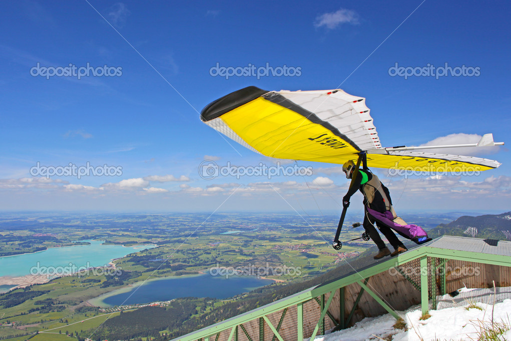 TEGELBERG, GERMANY - MAY 16: Competitor Conrad Duvig from Austria of the King Ludwig Championship hang gliding competitions takes part on May 16, 2012 in Tegelberg, Germany