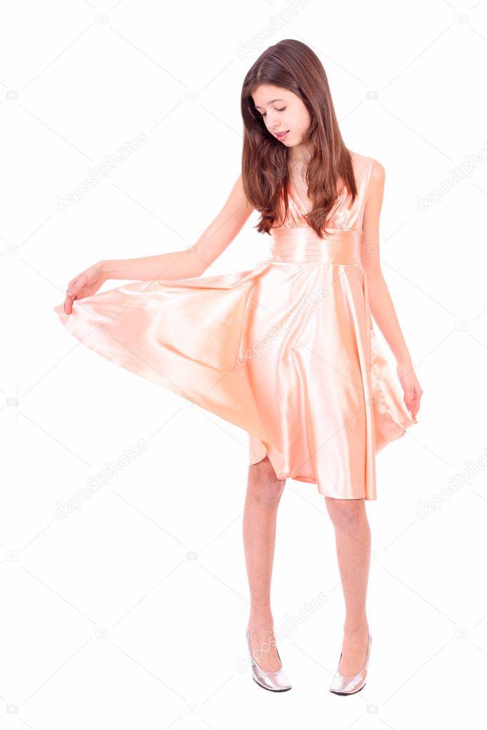 2182170c2f362c mooie tiener meisje in roze jurk — Stockfoto © aluha123  11103117