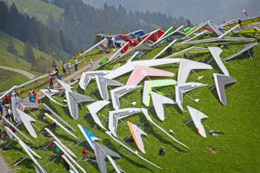 SANTS, SWITZERLAND - May 27: Competitors on the start of the Swiss Masters hang gliding competitions take part on May 27, 2012 in Sants, Switzerland