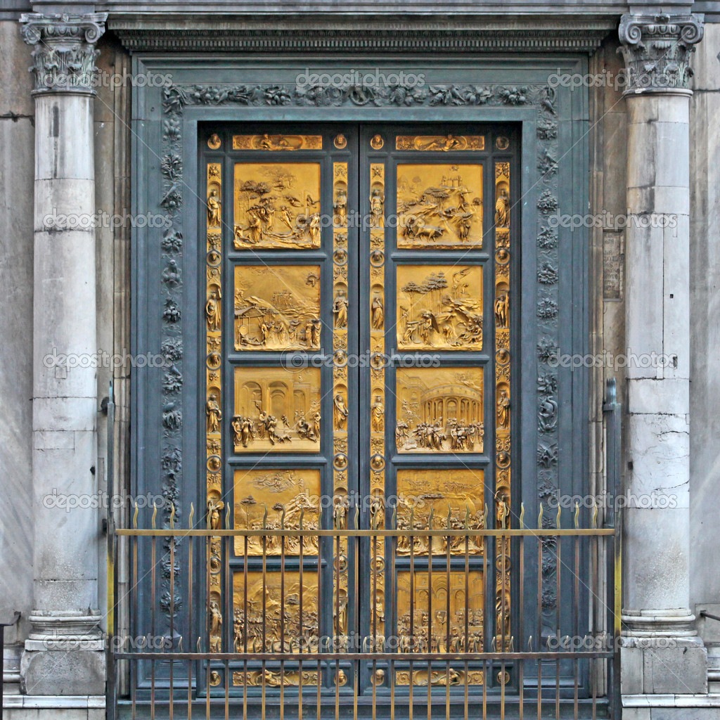 Ghiberti Paradise Baptistery Bronze Door Duomo Cathedral Florence Italy Door  Cast In The 1400s. U2014