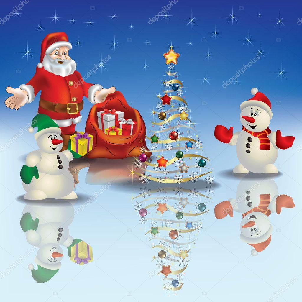 abstrakte Weihnachten Begrüßung mit Weihnachtsmann und Schneemann ...