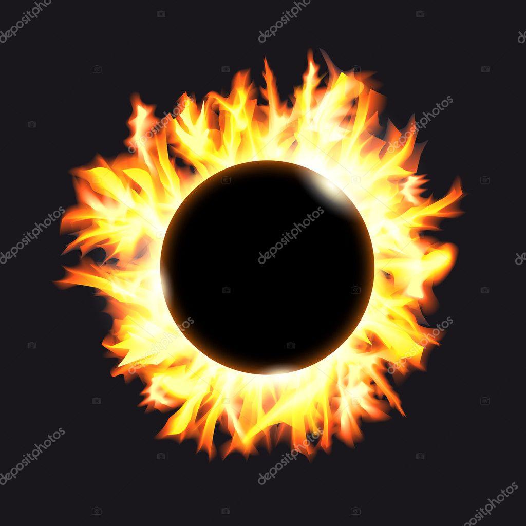 eclipse solar. marco de las protuberancias solares sobre un fondo ...