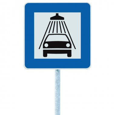 Car wash road sign on post pole, traffic roadsign, blue isolated