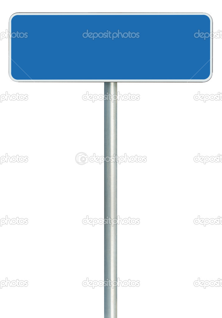 Blank Blue Road Sign Isolated, Large White Frame Framed Roadside