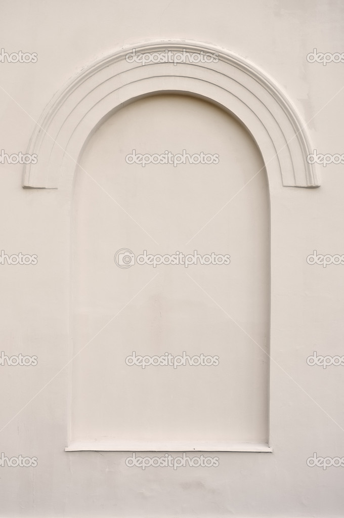 Old aged plastered faux arch false fake window stucco frame back ...