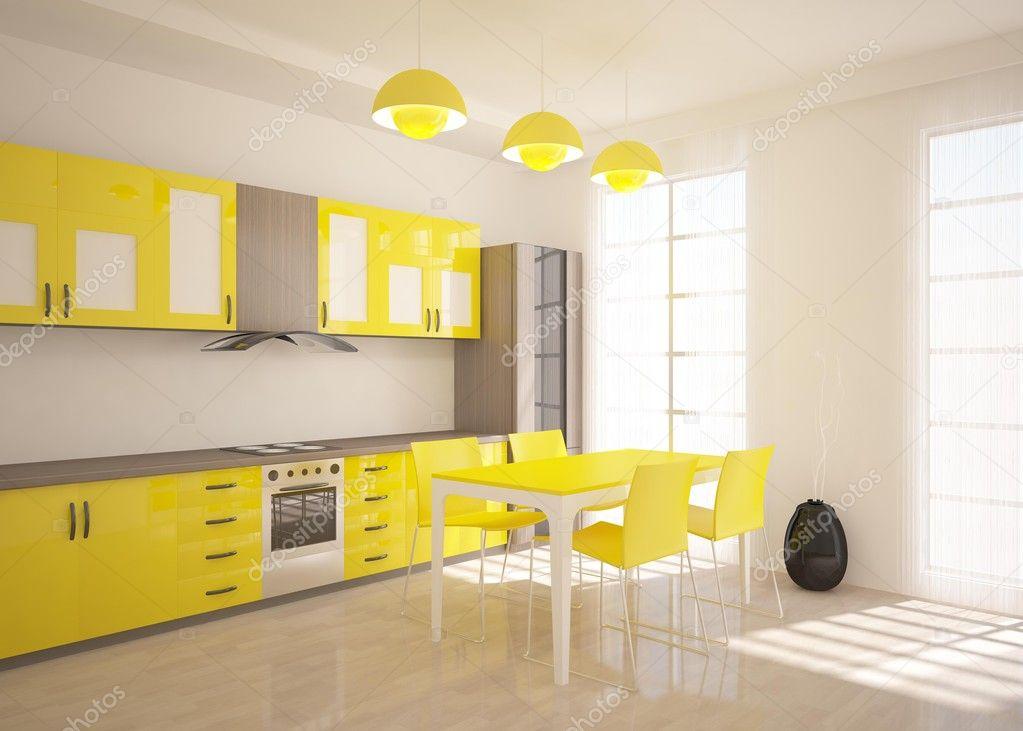 Cuisine Moderne Jaune cuisine moderne jaune — photographie antoha713 © #11149984