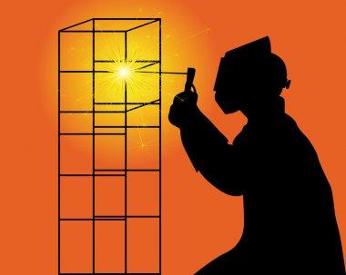Silhouette of a welder