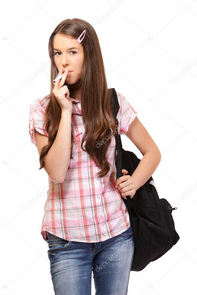 Eine Jugendliche, die raucht, Xxx Video Reife Babe verführt