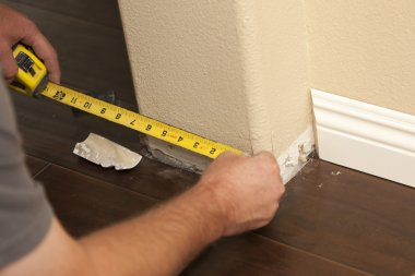 Measuring for New Baseboard with Bull Nose Corners and New Lamin