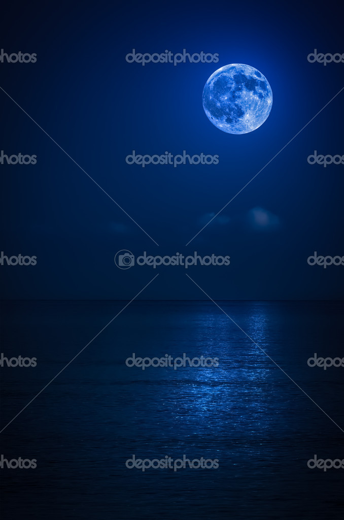 Bright full moon on the ocean