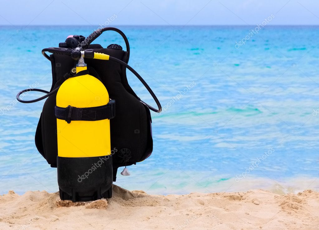 Underwater diving equipment on a cuban beach
