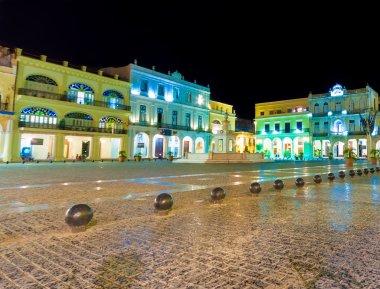Square in Old Havana illuminated at night