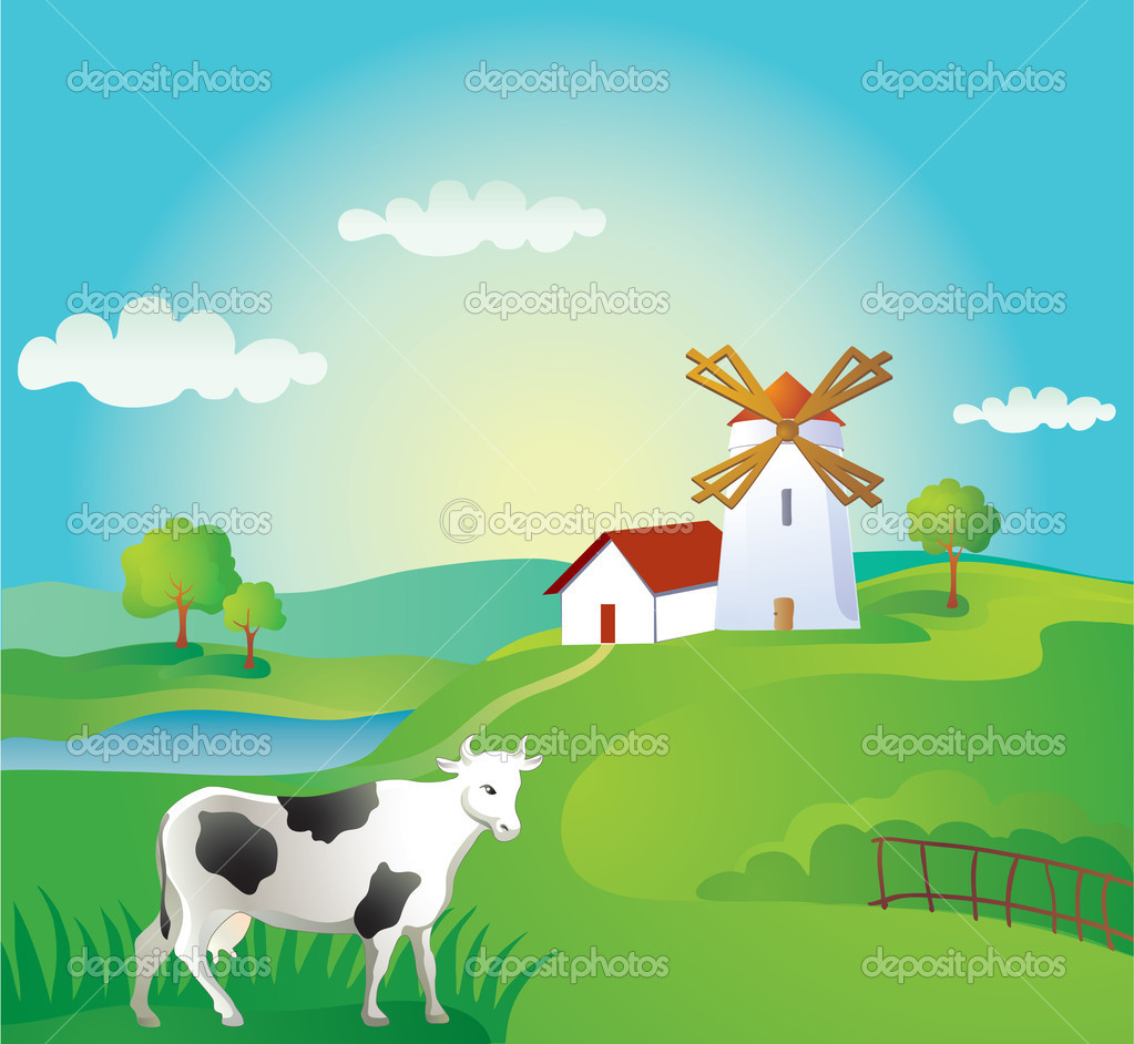 Rural background with cow