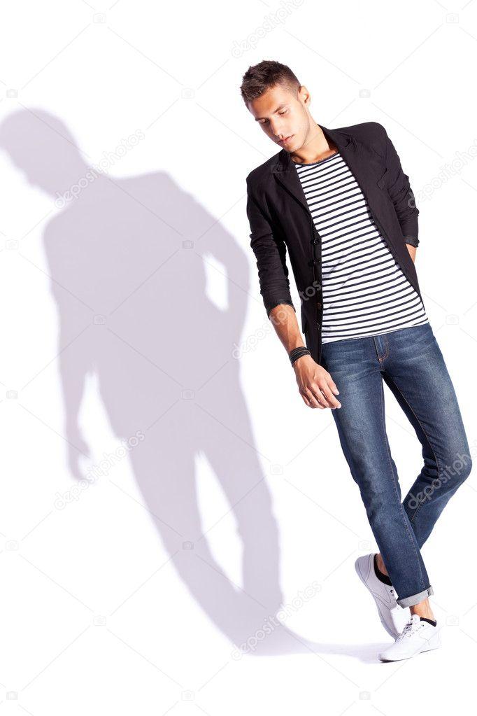 Giovane Moda E Camicia Jeans Di Uomo In Cappotto z1w66q