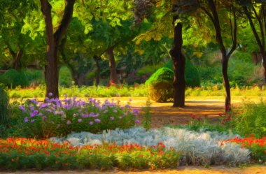 Landscape painting showing blooming of flowers in park in spring