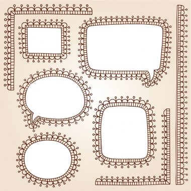 Henna Doodle Vintage Speech Bubbles Frames Vector Set