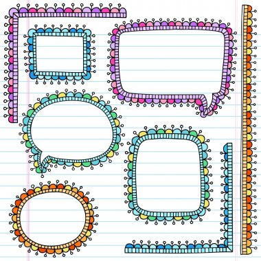 Speech Bubble Psychedelic Notebook Doodles vector Set