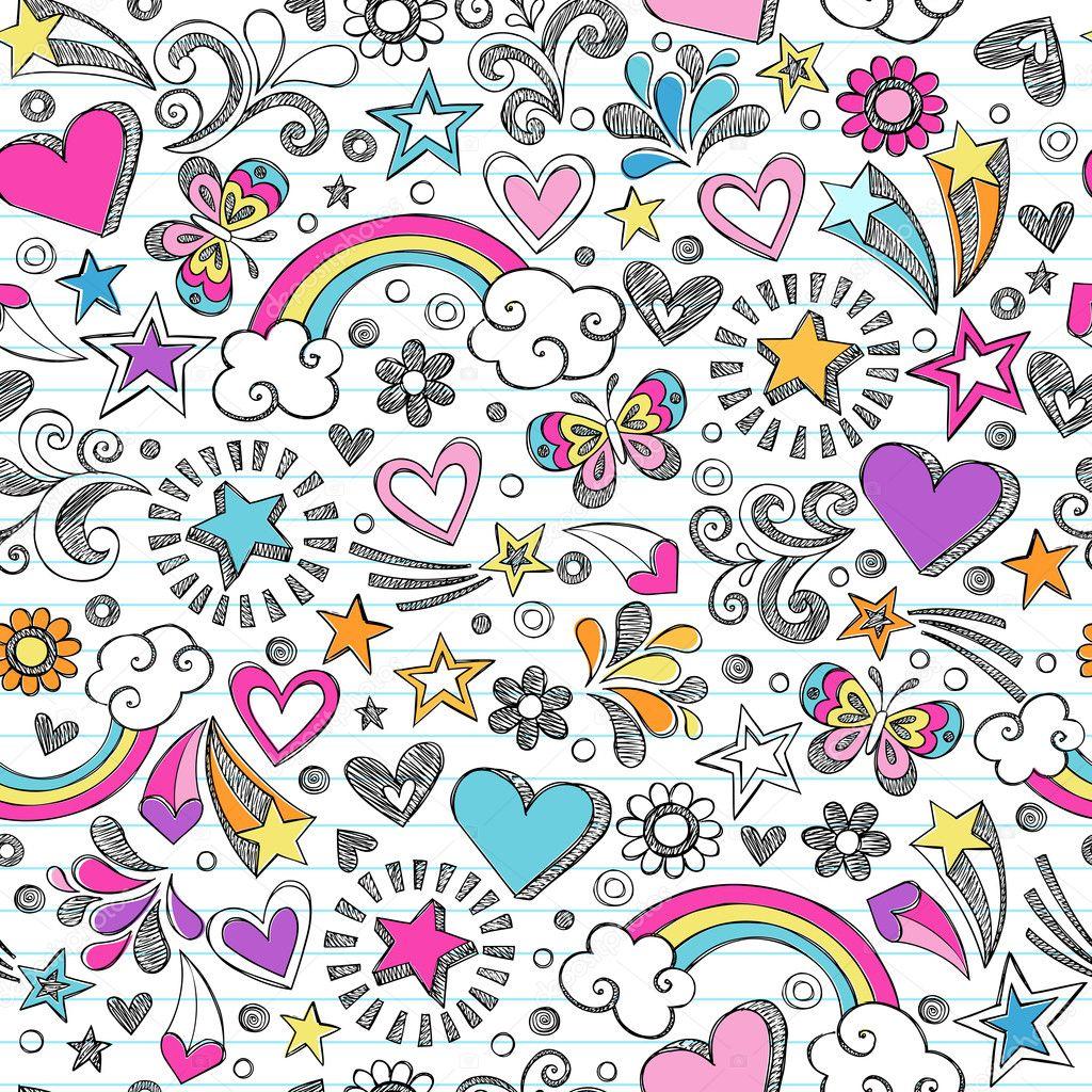 Seamless Sketchy School Doodles Vector Pattern