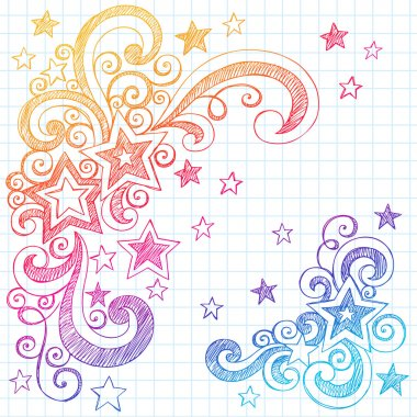Stars Sketchy Doodles Back to School Vector Illustration