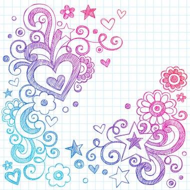 Heart Love Sketchy Doodle Swirls Valentines Day Vector Design