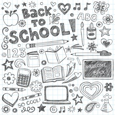 Hand-Drawn Welcome Back to School Sketchy Notebook Doodles with Lettering, Shooting Stars, Hearts, and Swirls- Vector Illustration Design Elements on Lined Sketchbook Paper Background stock vector