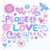 Photo Peace and Love Sketchy Doodle Back to School Vector Design Elements