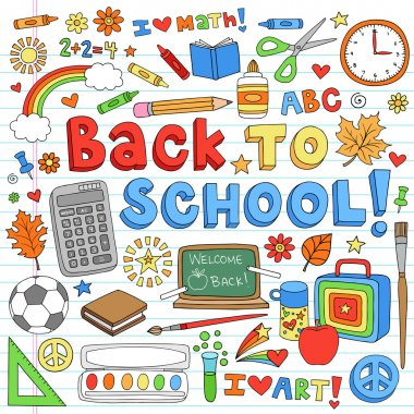 Back to School Classroom Supplies Notebook Doodle Vector Design Elements