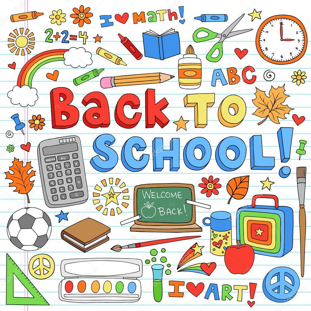 Classroom Design Elements ~ Back to school classroom supplies notebook doodle vector