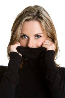 Woman Wearing Turtleneck stock vector