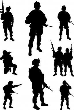 Army soldiers silhouette vector collection stock vector