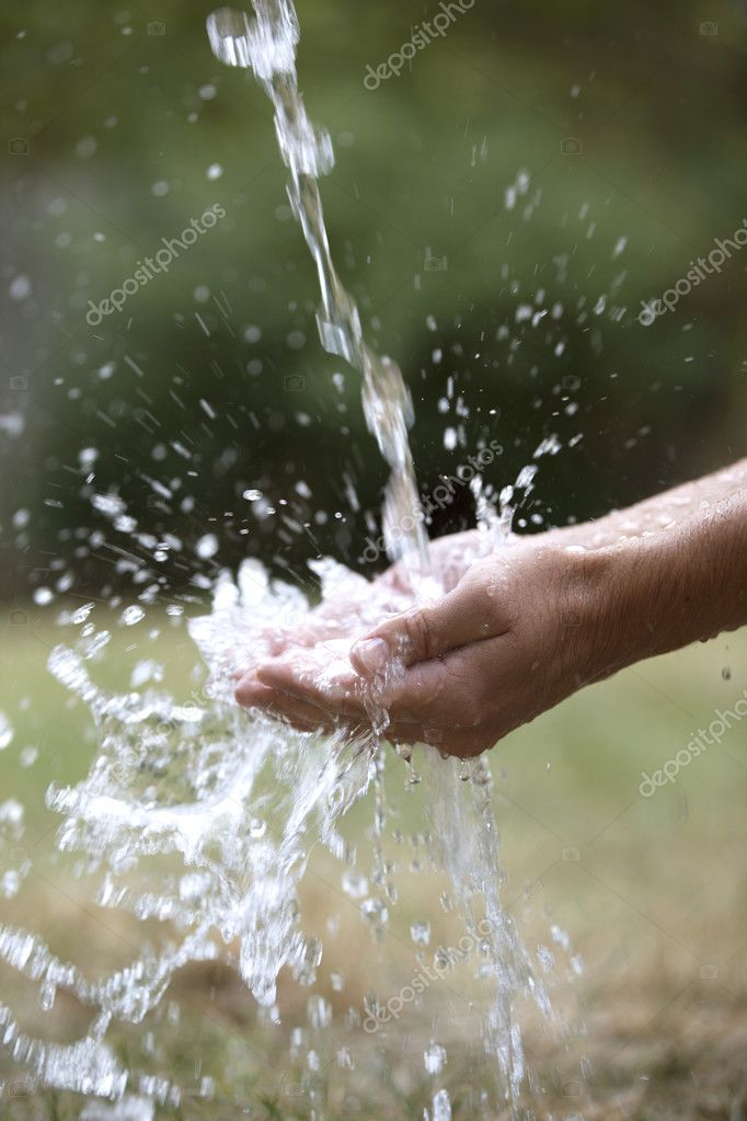 Profile of Hands Catching Splash of Water