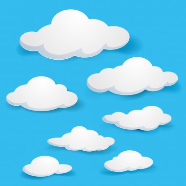 Cartoon clouds. Illustration on blue background for design stock vector