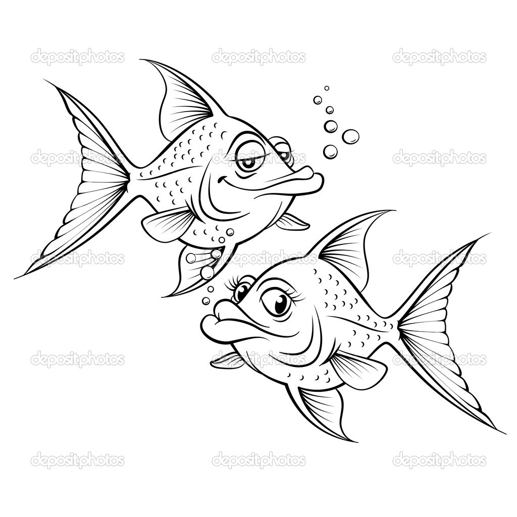Two Drawing Cartoon Fish Stock Vector C Dvargg 11837173