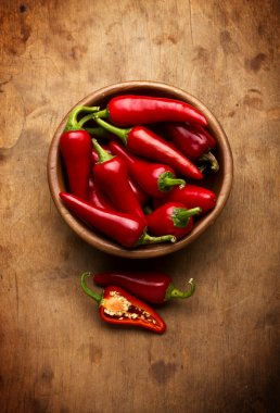 Red Hot Chili Peppers in bowl over wooden background stock vector