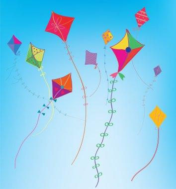 Kites in the sky background