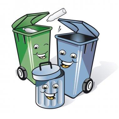 Three funny trash can