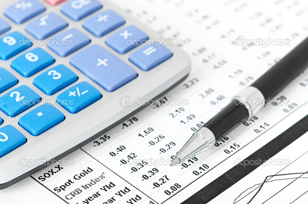 Pen and calculator on business paper background — Stock Photo ...