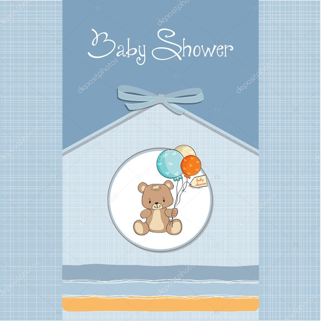 Baby Shower Stock Images ~ Baby shower card with cute teddy bear — stock photo
